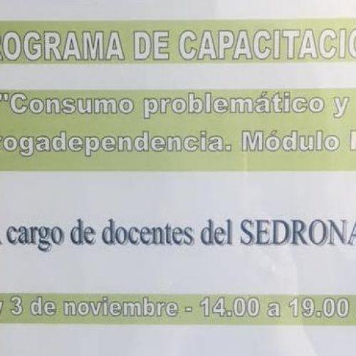 """Dictarán el II módulo de la capacitación sobre """"Consumo problemático y Drogadependencia"""""""