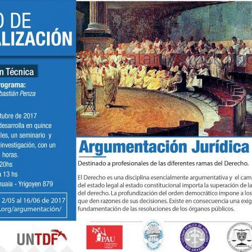 Se encuentran abiertas las inscripciones al Curso de Actualización en Argumentación Jurídica en la UNTDF