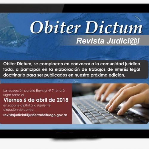 Recepción de trabajos para la Revista Digital Judicial Obiter Dictum