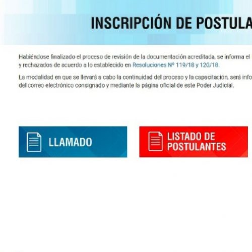 Ingreso al Poder Judicial: Publican listado de postulantes validamente inscriptos